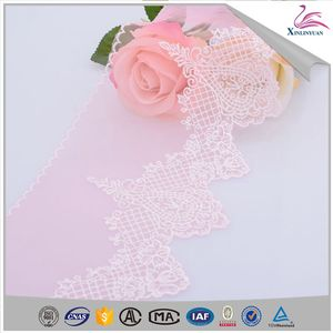 2019 Made in China wholesale pink stretch embroidery tulle lace trim