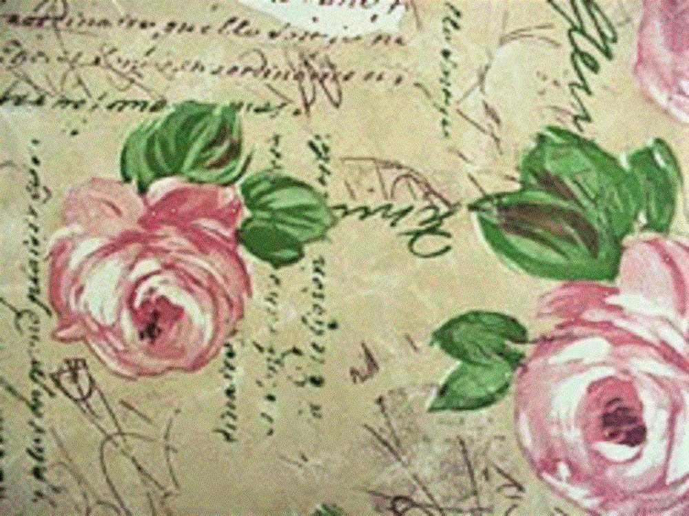 """Fitted Round Elastic Edge Vinyl Tablecloth Table Cover fits 36"""" to 46"""" Pink Roses Provence"""
