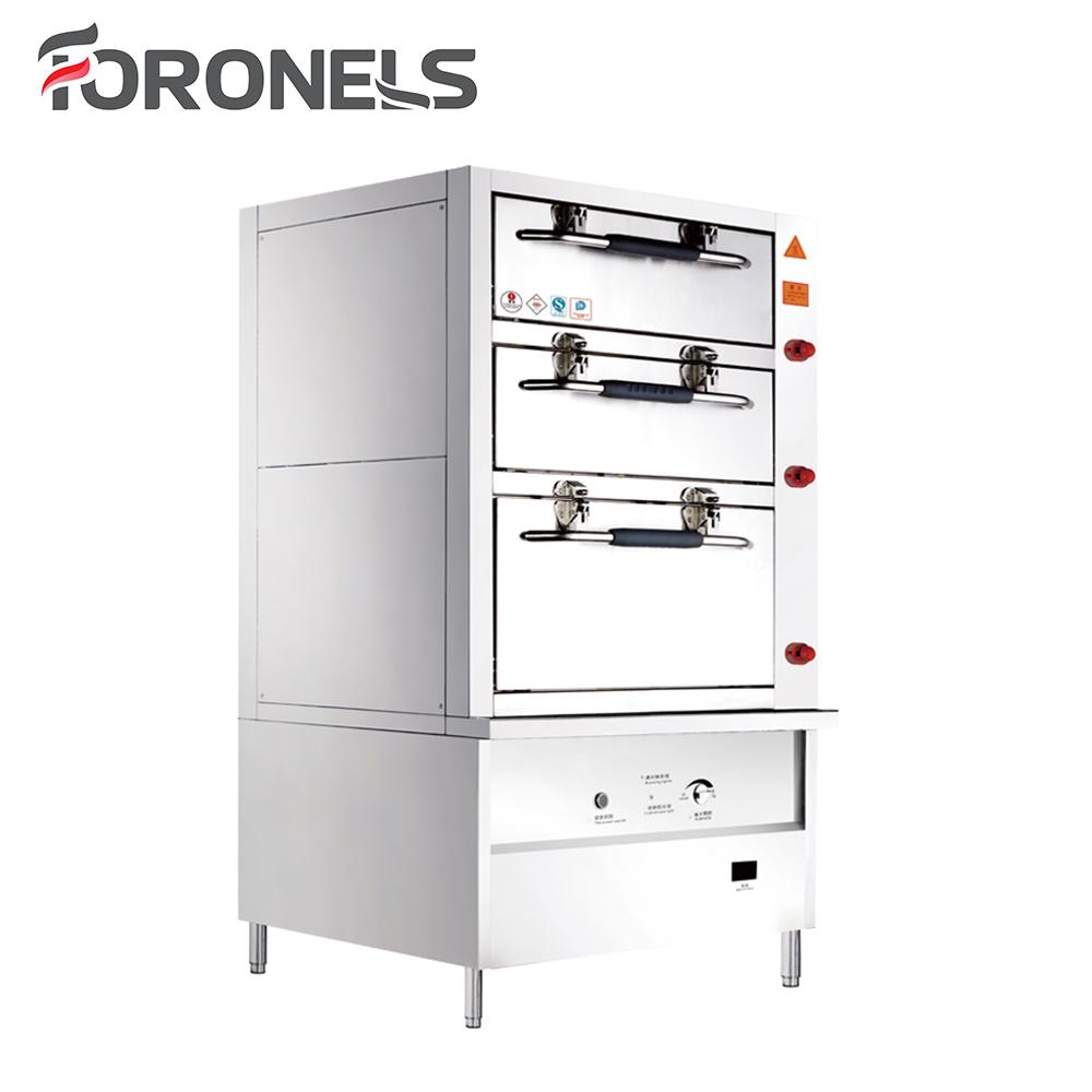 5 Star Hotel Kitchen Equipment Stainless Steel Electric Bun Catering Equipment Dim Sum Steamer Cabinet