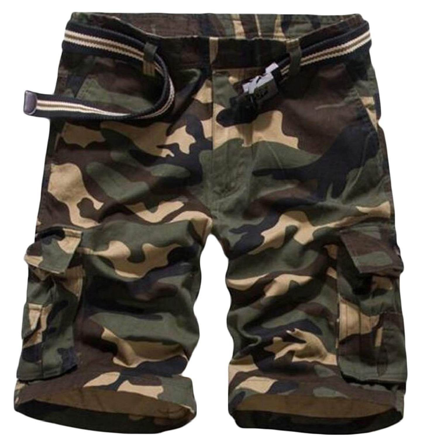 XQS Mens Casual Cargo Shorts, Mens Slim Fit Athletic Twill Cargo Shorts