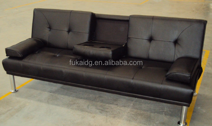 Guangzhou Modern Folding Futon Leather Sofa Bed With Cup Holder Black