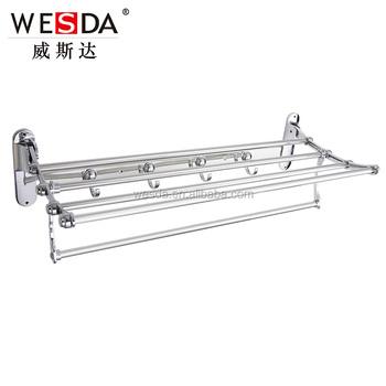 Wesda 90 Degree Rotation Hotel Bathroom Tmetal Towel Shelf Wall Hook ...