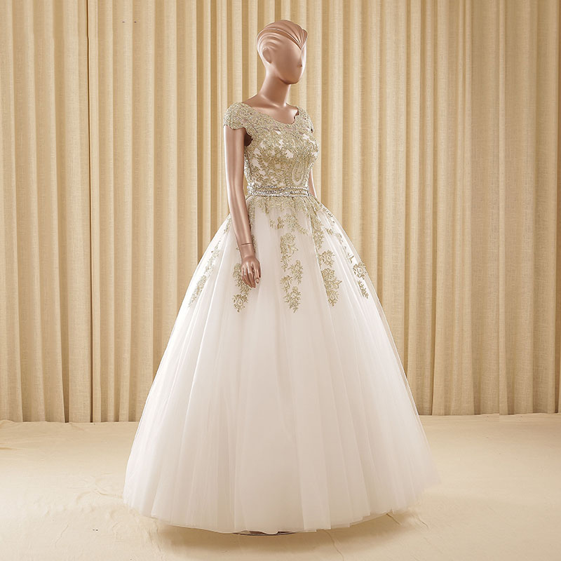 Vestidos novia blanco con dorado