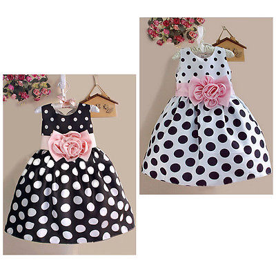 2016 New Summer Baby Kids Girls Party Wedding Polka Dot Flower Gown font b Fancy b