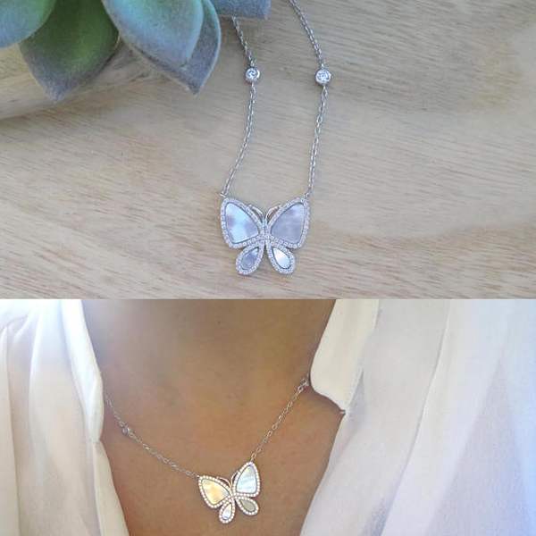 cute women girl jewelry sea shell delicate silver jewelry stunning women white butterfly necklace