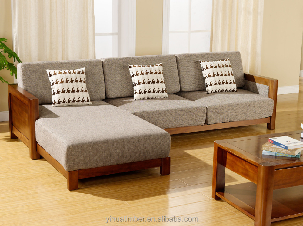 Chinese style solid wood sofa design modern wood sofa for Sofa en l liquidation