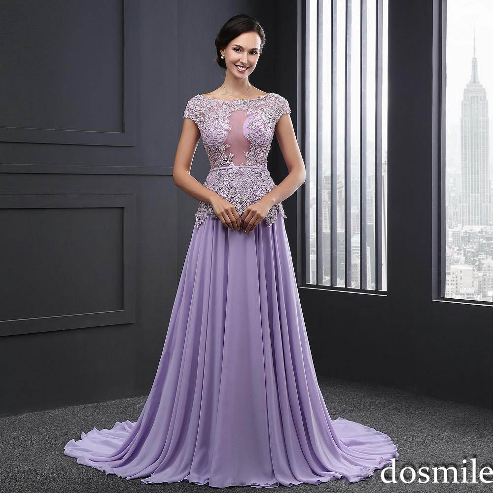2016 Lavender Purple Formal Evening Dresses Short Sleeves