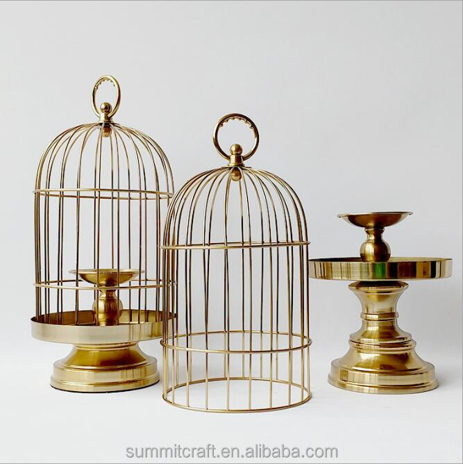 Luxury metal golden decorative bird cage candle holder home decor