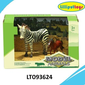 PVC Zebra and small horse toys Children animals playset