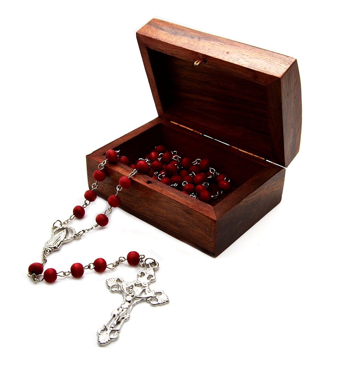 Catholic Rose Scented Wood Carved Rose Petal Rosary 7 Mm Bead and Wooden Hand Carved Rosary Box Wood Decorative Box