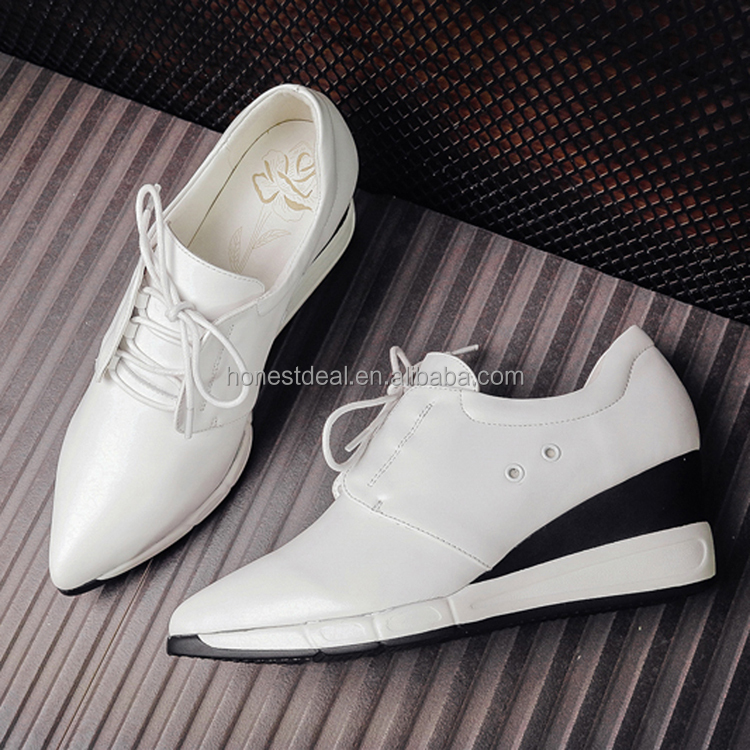 2017 latest Women fashion pointed toe white lace up breath hole boat ankle wedge anti-slip casual sports sneakers