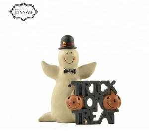 Hallowmas ghost gentleman and pumpkin resin statues home ornament