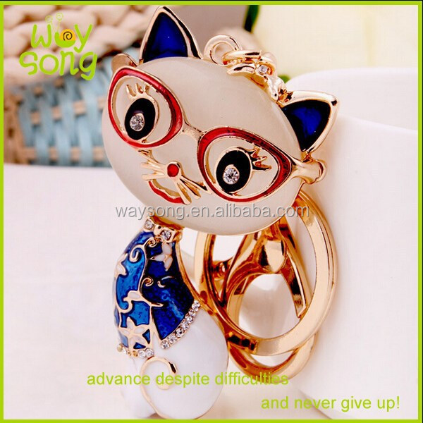 Wholesale Zinc Alloy live animal keychain/Lovely Cat Keychain