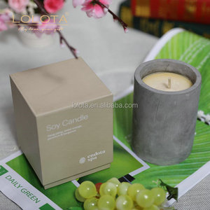 High-end gift box economical custom design wax candle in cement jar
