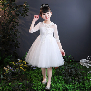 Flower children baby clothes cheap casual long sleeve latest party wear flower girl dresses