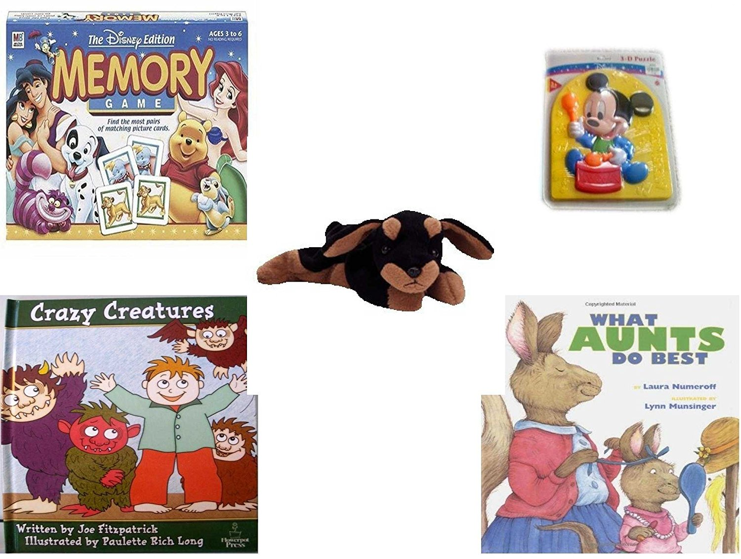 Children's Gift Bundle - Ages 3-5 [5 Piece] - The Disney Edition Memory Game - Preschool Disney Baby Mickey 3D Puzzle Toy - Ty Beanie Baby - Doby the Doberman - Crazy Creatures Hardcover Book - What