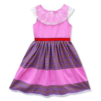 Kseniya Kids Tulle Plaid Patchwork Factory Girl Dress Trendy Clothes For Girls 2-14 Years
