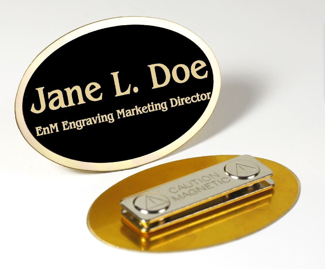 """Custom Engraved Oval Gloss Black or Satin Brass Name Tag Name Badge Strong Magnetic Closure Employee Identification Plate Sign Personalized Real Metal 1 5/8"""" x 2 1/2"""""""