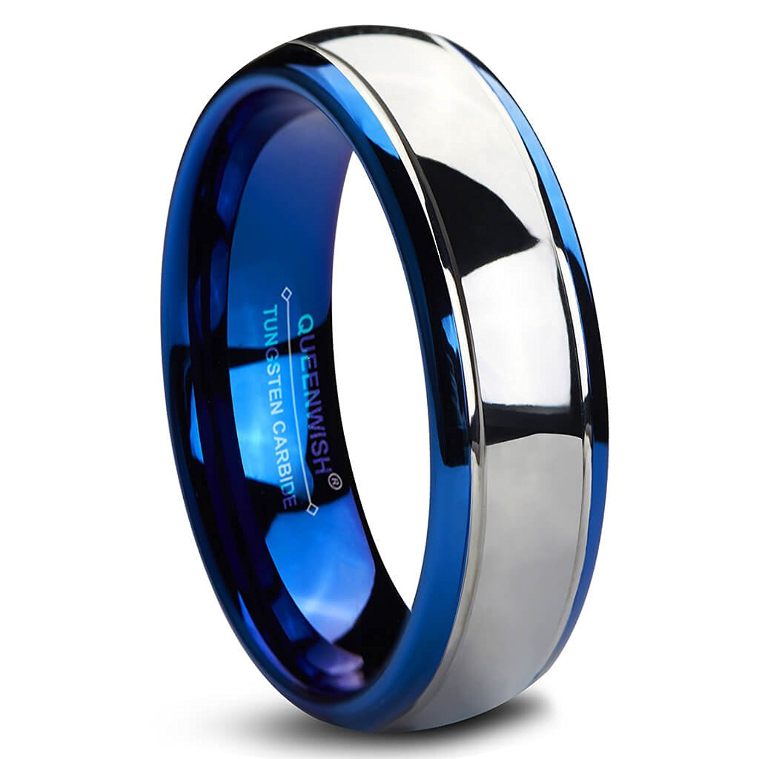 Get Quotations Queenwish Blue Dome Tungsten Carbide Wedding Bands 6mm Silver Gunmetal Promise Rings For S