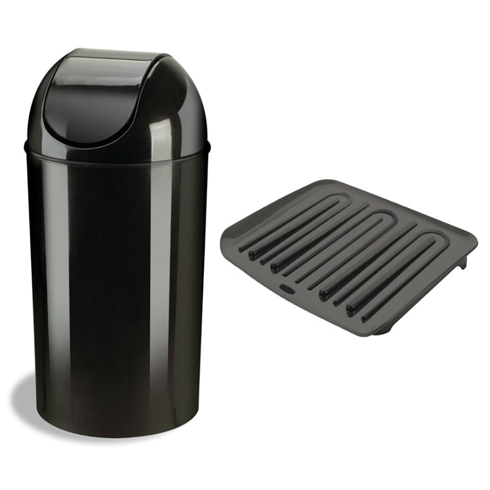 Combo Of Umbra Grand 10 Gallon Recycling Trash Can Waste Receptacles Container With Lid And
