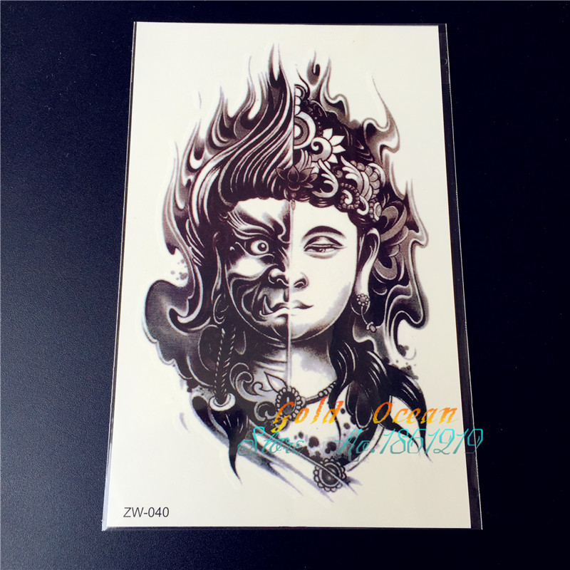Two Sided Buddha design Armband Temporary Tattoos GZW 040 Mysterious Evil Women Buddhism two faces fire