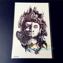 Two Sided Buddha design Armband Temporary Tattoos GZW-040 Mysterious Evil Women Buddhism two faces fire arm fake tatoo stickers