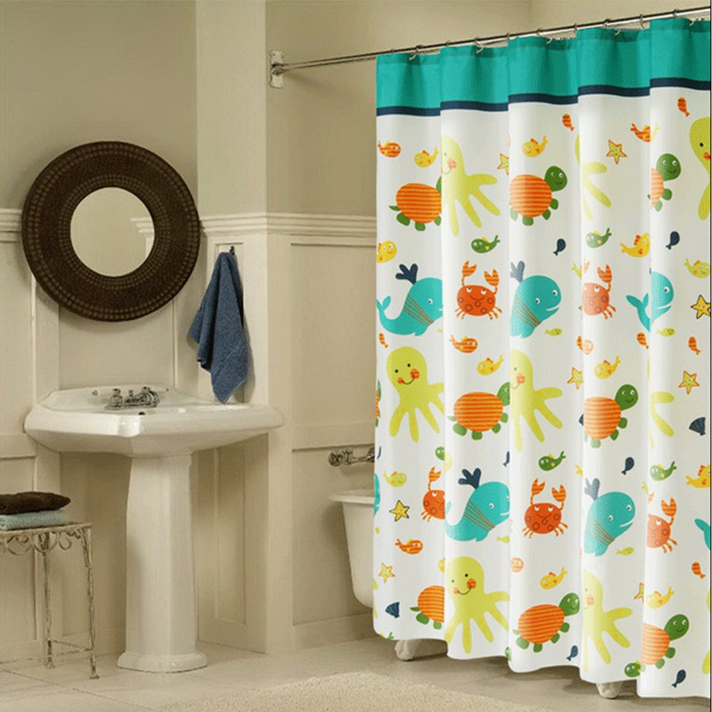 Get Quotations Wimaha Kids Shower Curtain Fabric Curtains Soft Funny Cartoon Animal Print Eco