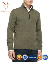 Branded 1/4 Zip up Polo Neck Cashmere Plain Knitted Mens Pullover Sweater