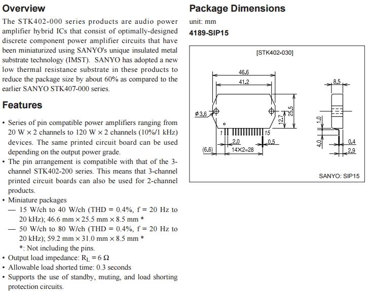 Hybrid-IC STK402-250 ; Power Audio Amp