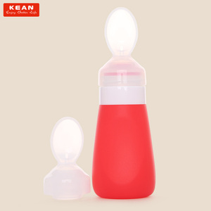 Heat-Resistant Food Grade Silicone Baby Feeding Bottle With Spoon