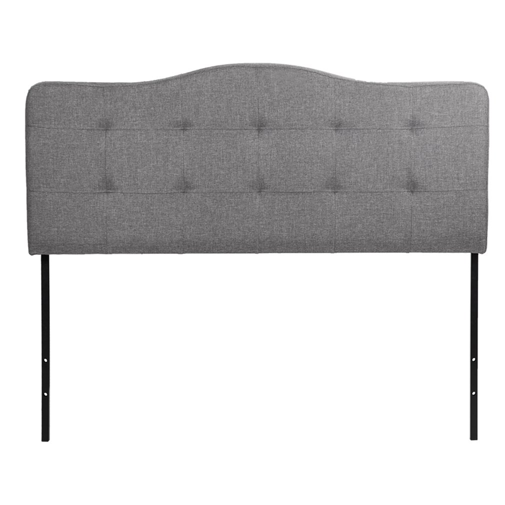 Headboard Fabric Upholstered Modern Queen Size Linen Tufted Heavy Duty Button in Gray