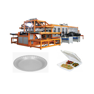 Electric fuel foam food plate vacuuming high speed vaccum forming cutting machine