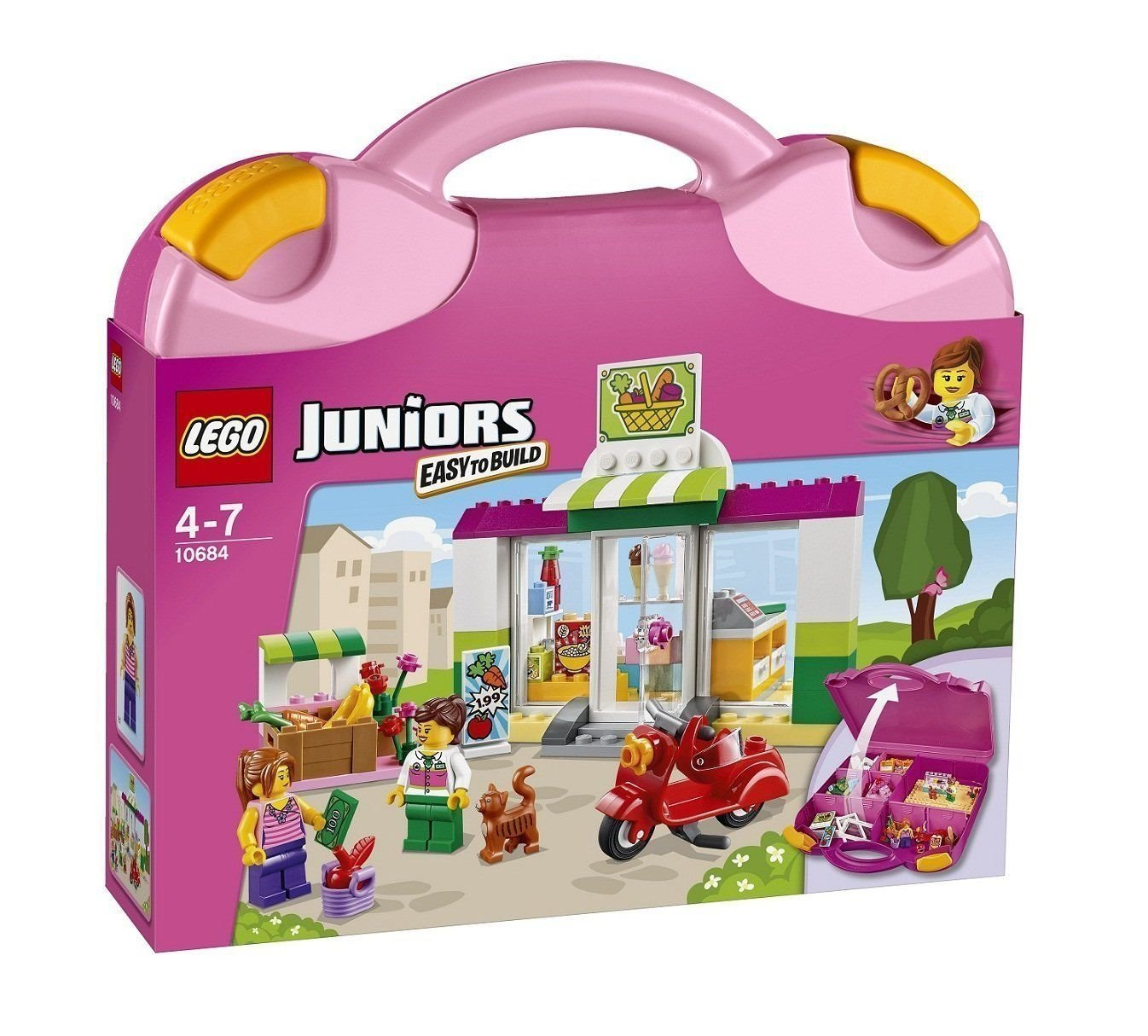 LEGO JUNIORS Shop Set with Suitcase Shop & Red Scooter & Figure 10684