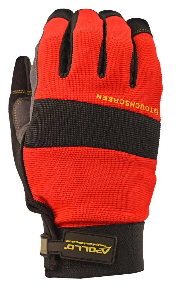 Apollo Performance Work Gloves 123 with Velcro Wrist closure, Hi-Dex Mechanics Glove with Synthetic Leather Polyurethane and Spandex Exterior, Vibration Dampening Material on Palm, Touch Screen Capabilities with Lightning Touch Technology, 1 Pair, Large, Red/Black