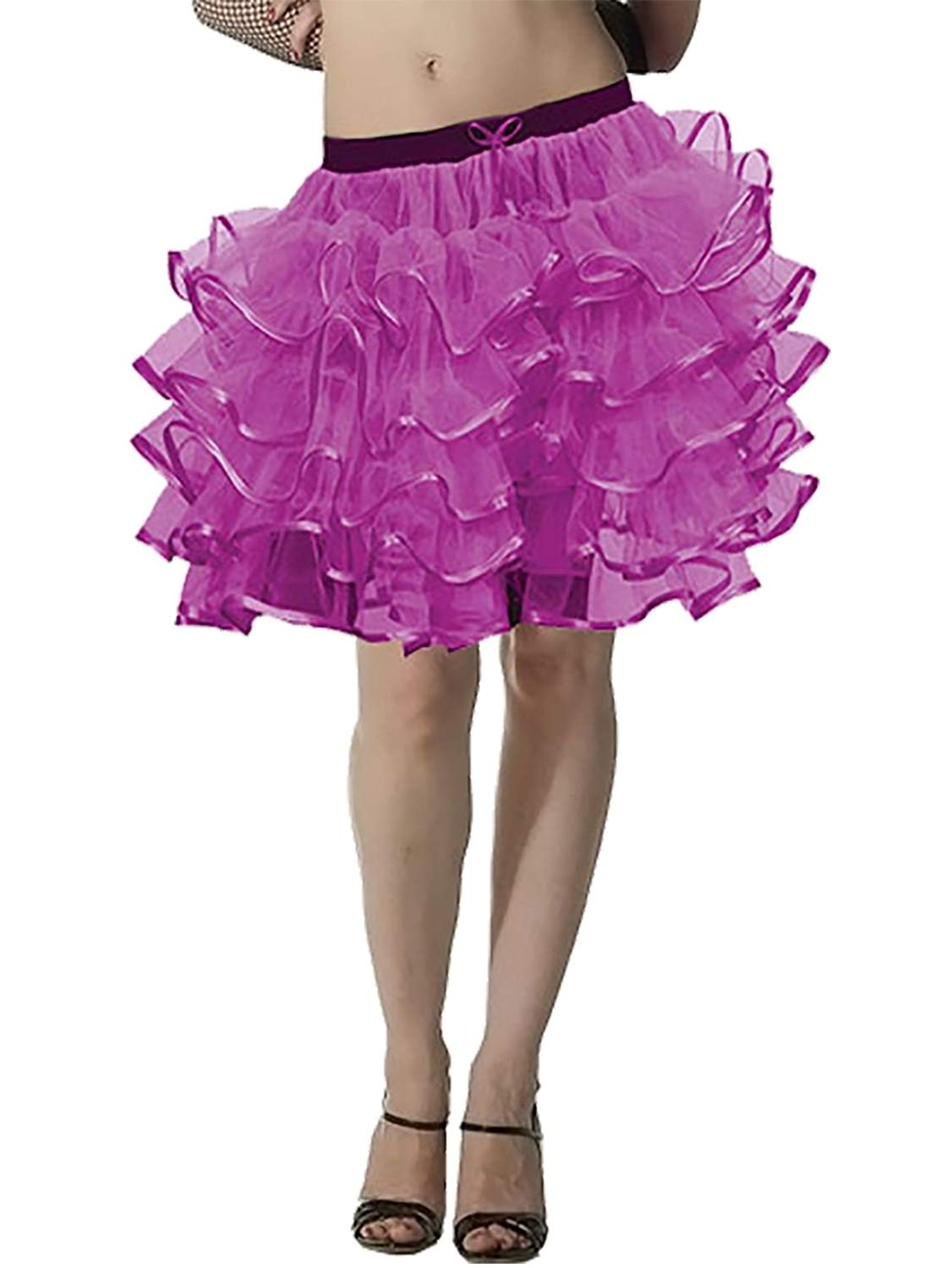Rimi Hanger Womens 5 Layers Tutu Skirts with Ribban Ladeis Night Dance Party Wear Mini Skirt One Size