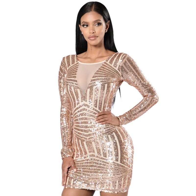 Wholesale Women Long Sleeve Sequin Dress Hot Sexy Club Dress - Buy ... 50600257c