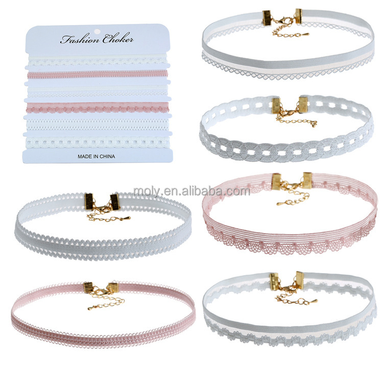 2017 new come to market 6pcs a set fashional elegant sytle Lace Choker necklace for Mother's Day