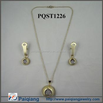 Wholesale Latest Design Simple Gold Necklace Dubai Gold Jewelry Set
