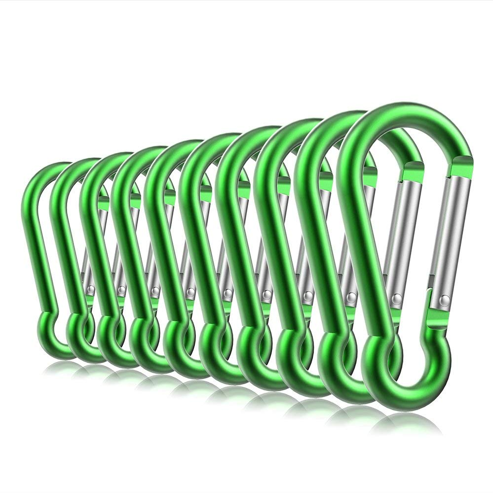 "10PCS 3"" Aluminum Carabiner Keychain Clip with Keyring, Light Durable Round Shape Nonlocking Caribeaner Hook Buckle for Outdoor Camping EDC Key Chain Ring(Green)"