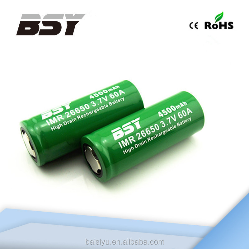 Hot! High Drain 60A BSY rechargeable li-ion battery 3.7V 26650 4500mAh 26650 battery holder
