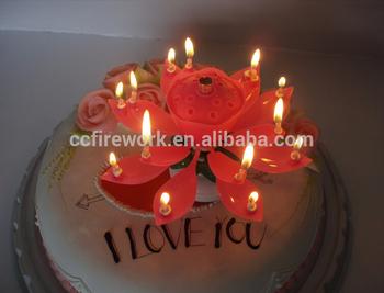 CC0618 Led Fireworks Tree Lights Lotus Flower Music Birthday Cake Candles Colour