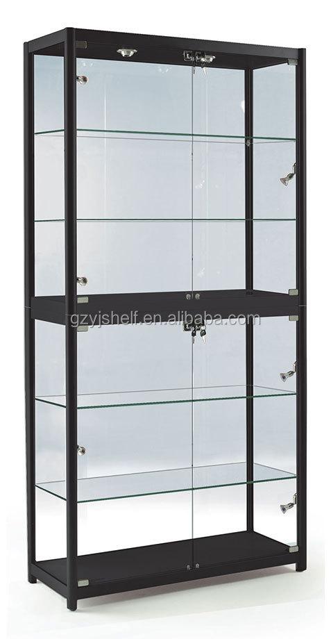 Mordern Titanium Alloy Glass Display Showcase,Glass Jewelry Display Cabinet