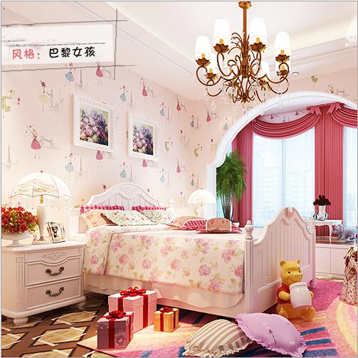 Non Girly Bedroom Ideas: QZ 06 Cartoon Paris Girl Children's Room Wallpaper