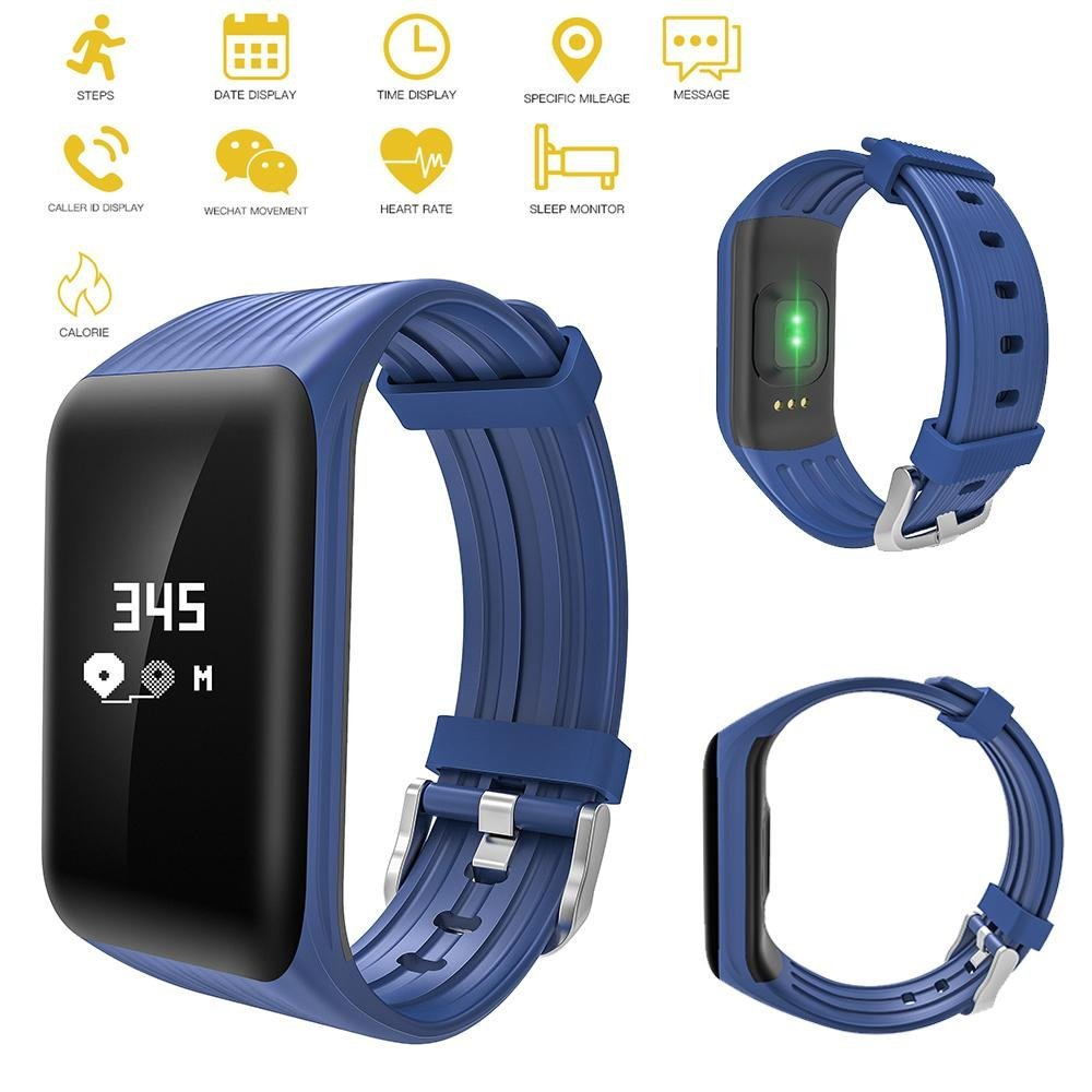 KOBWA Fitness Tracker, Bluetooth Activity Tracker Heart Rate Monitor IP68 Smart Bracelet Fitness Wristband Watch with Sleep Monitor Pedometer Calls Calories Counter for IOS/Android Smartphones