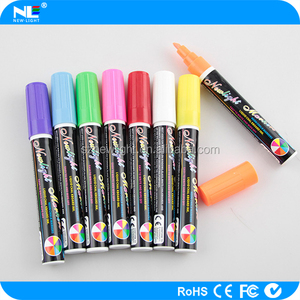 8 vivid colors wet erasable liquid chalk marker 6mm nib mult-color LED writing board pen fluorescent liquid marker pen