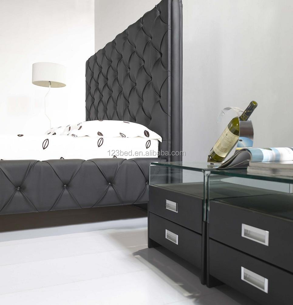 High Headboard Modern Luxury Black Bed A041 - Buy Modern Luxury ...