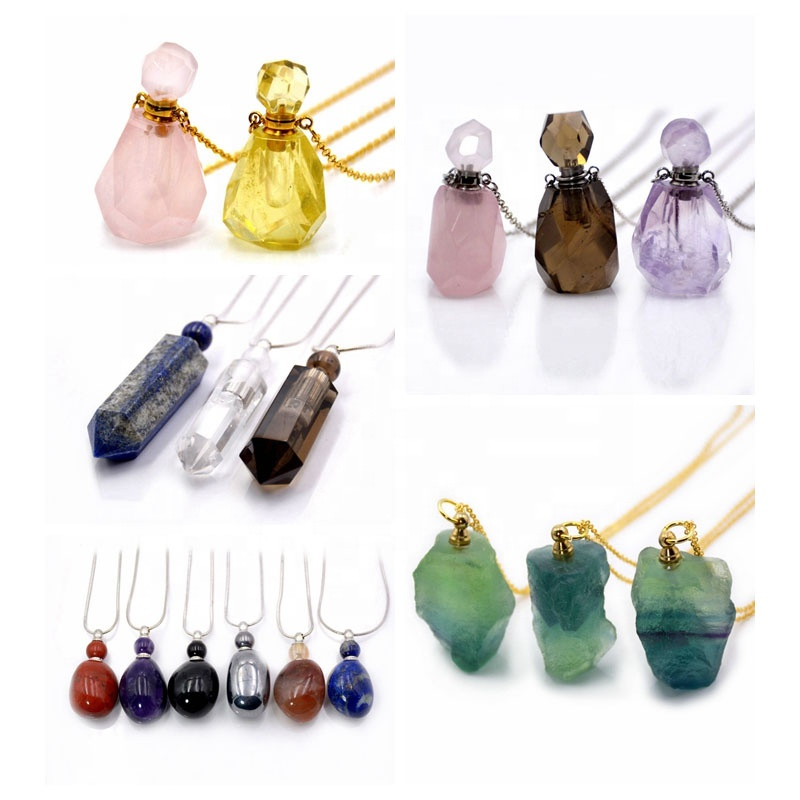 Natural gemstone perfume bottle Necklace Rose Quartz Pendant Amethyst Magical Medicine Bottle Essential Oils Diffuse necklaces