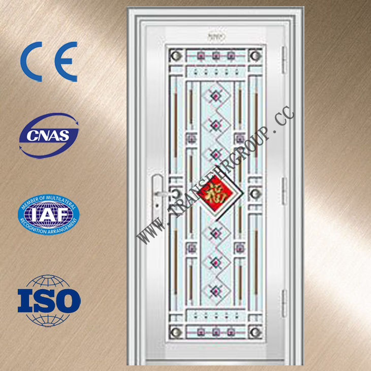 Exterior Slab Doors Wooden Stainless Steel Security Egypt Door YZ 8203