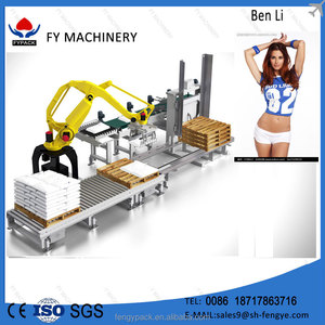 factory manufactor 25kg fertilizer pellet robotic arm bagging machine palletizer for packing line