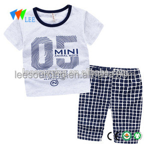 New summer baby boys tee clothes infant cloth boy t shirt with plaid shorts 2 pcs kids outfits set wearing